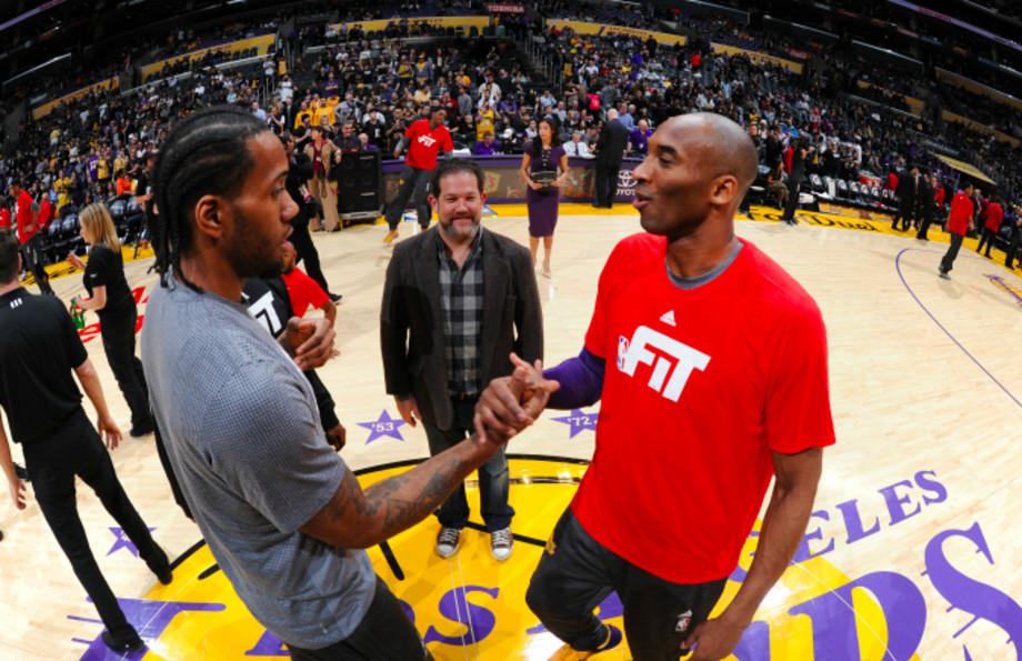 Kawhi Leonard of the San Antonio Spurs and Kobe Bryant