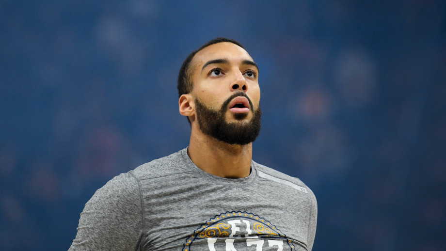 Rudy Gobert of the Utah Jazz looks on before a game against the Toronto Raptors.