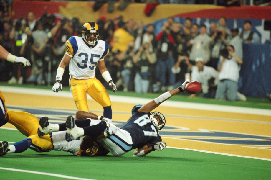 Rams' Mike Jones tackles Titans' Kevin Dyson just short of the end zone in Super Bowl XXXIV