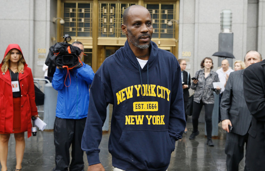 DMX leaving court in New York City after being arraigned of tax fraud charges.