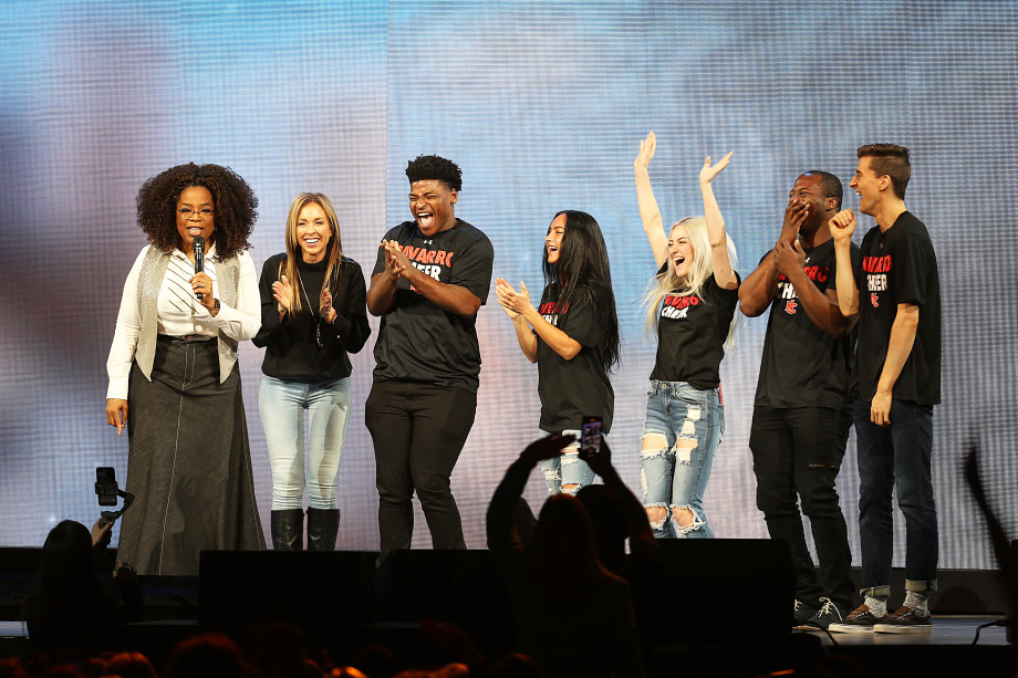 Cast of Cheer onstage with Oprah Winfrey
