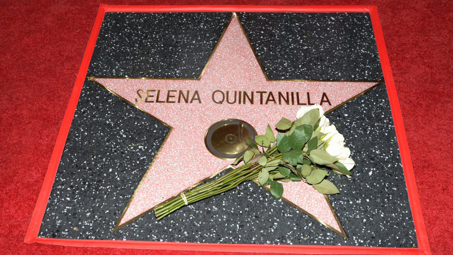 Singer Selena Quintanilla is honored posthumously with a Star on the Hollywood Walk of Fame