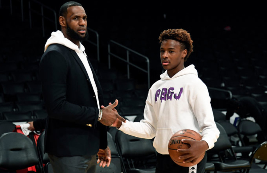 LeBron and LeBron Jr. shoot around on the Lakers' court.