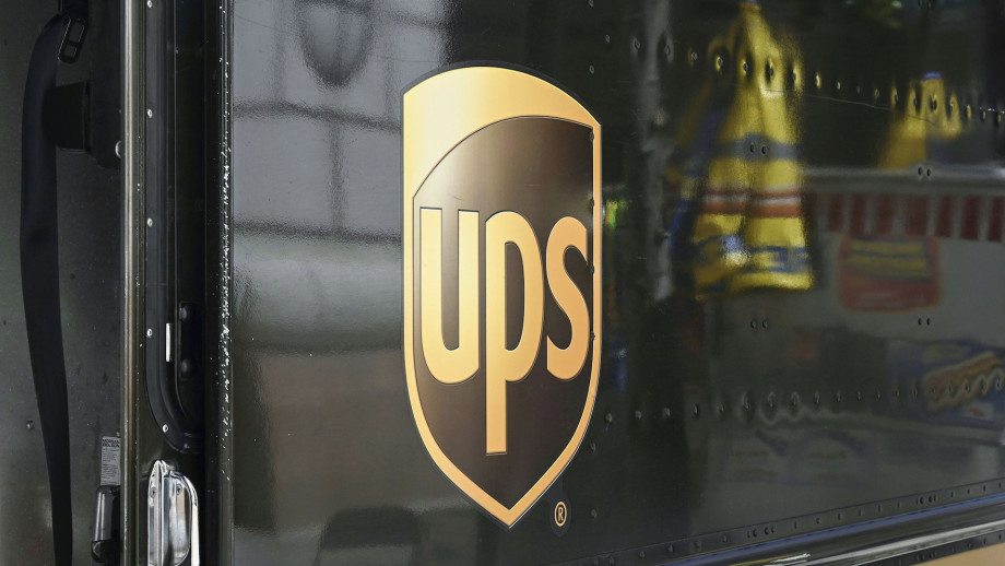 A UPS (United Parcel Service) truck sits on a street in Washington, DC.