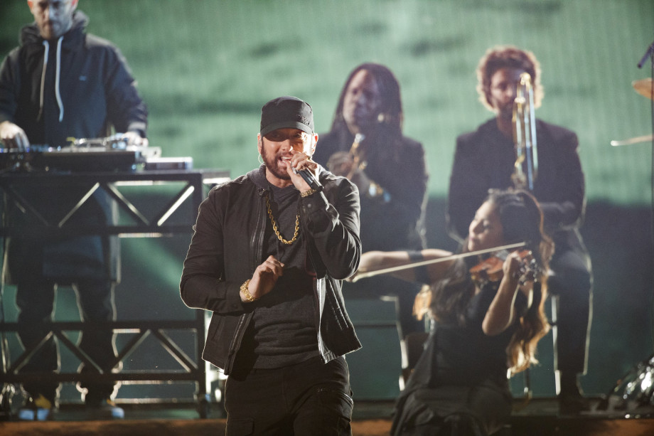 """Eminem performs """"Lose Yourself"""" at the 92nd Oscars."""