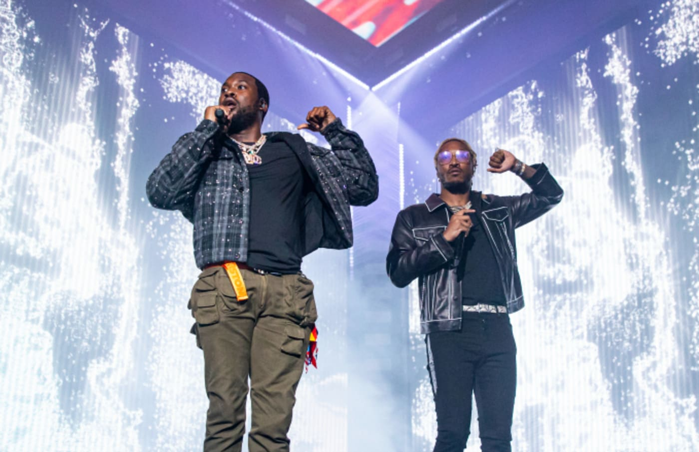 Rappers Meek Mill (L) and Future perform