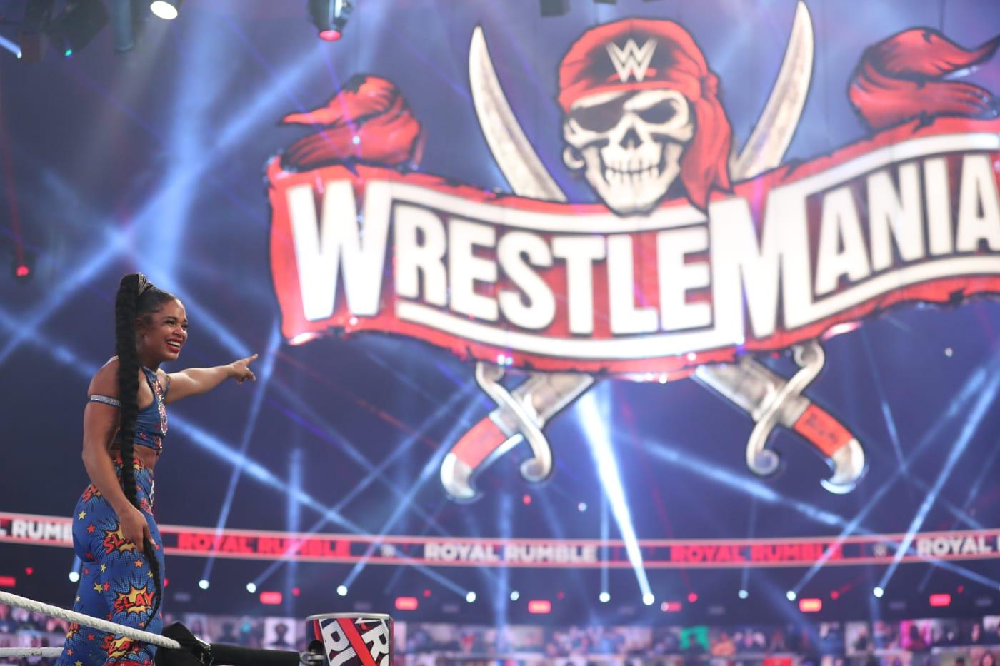 Bianca Belair during the WWE Royal Rumble 2021