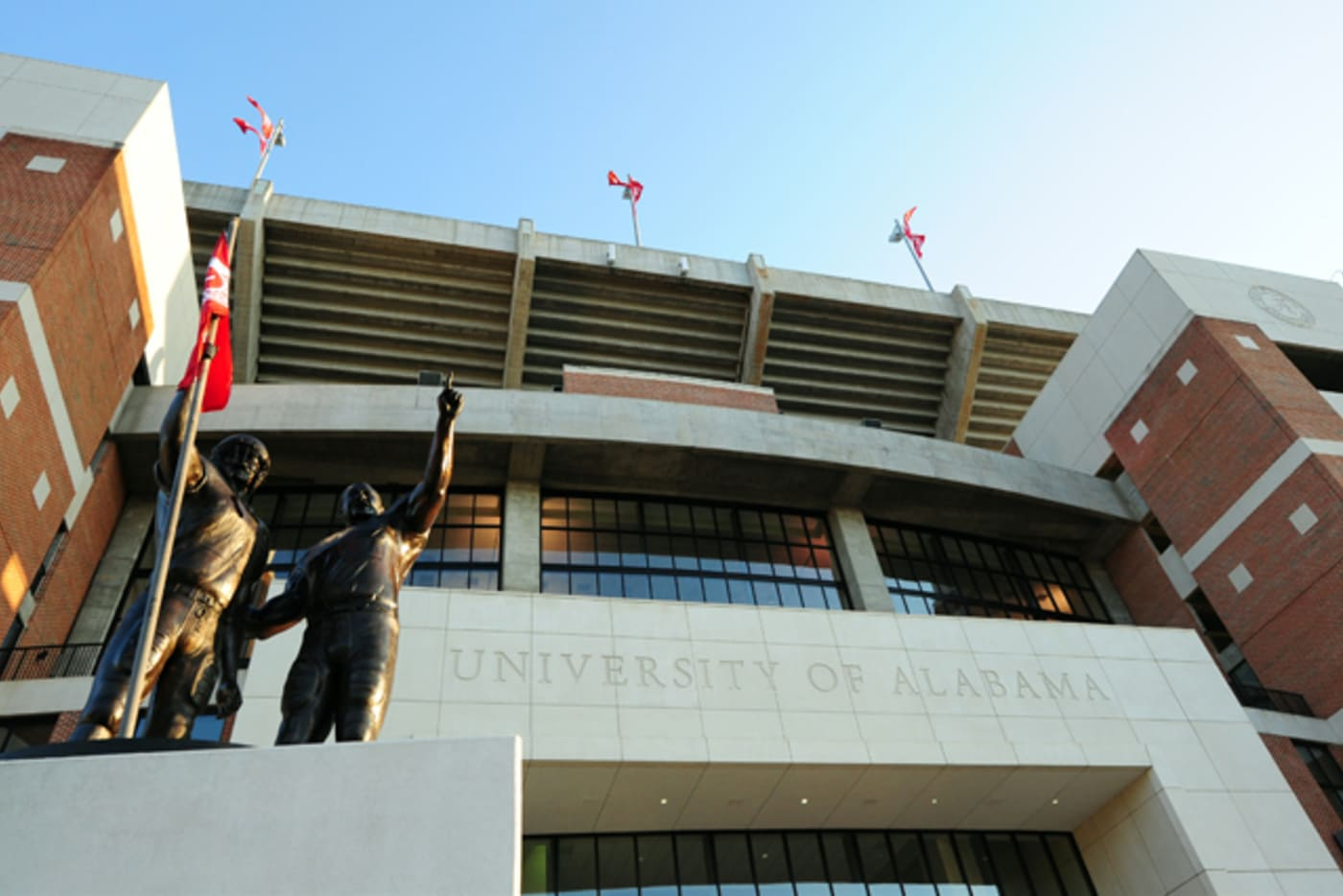 A general view outside Bryant Denny Stadium on campus of the University of Alabama