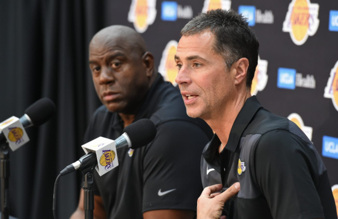 "Lakers President of Basketball Operations Earvin ""Magic"" Johnson and General Manager Rob Pelinka"