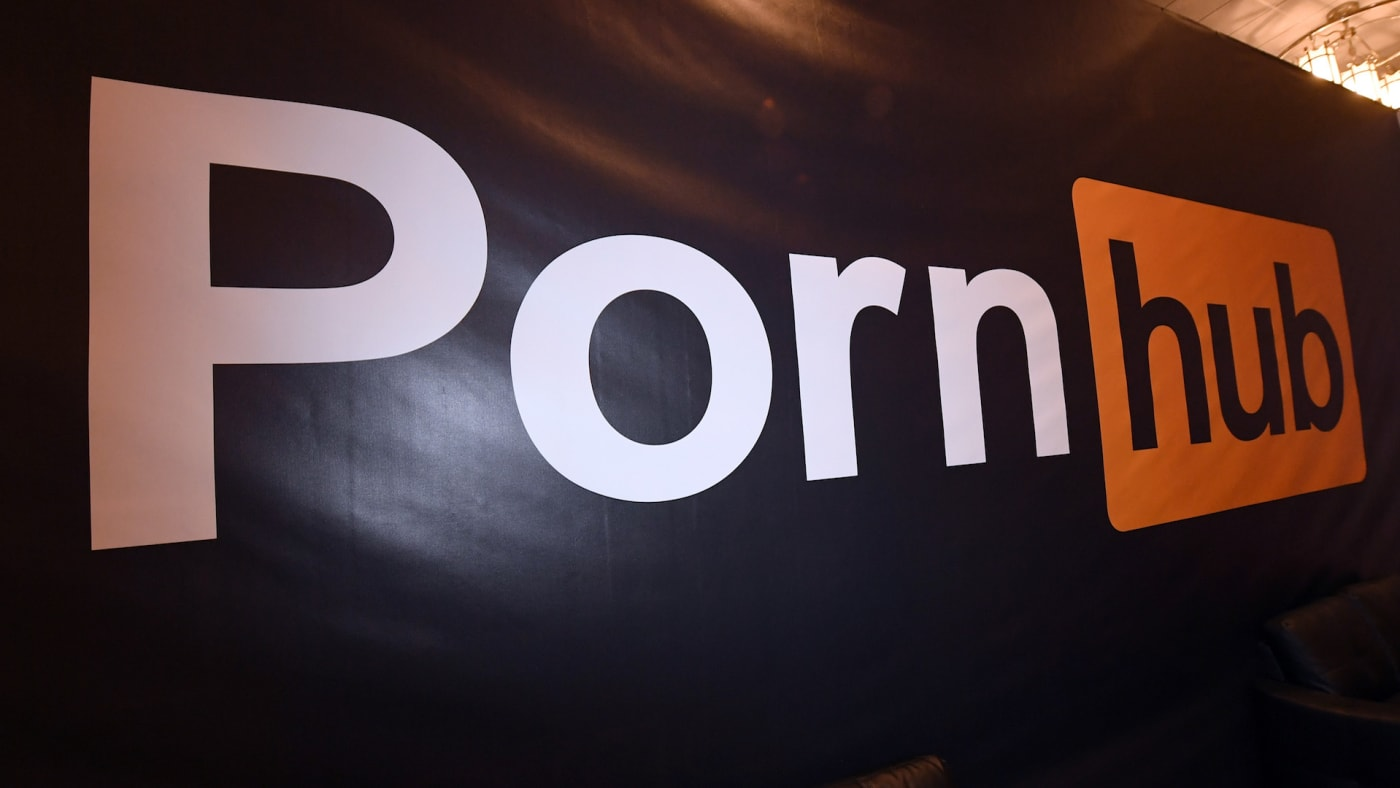 A Pornhub logo is displayed at the company's booth at the 2018 AVN Adult Entertainment Expo.