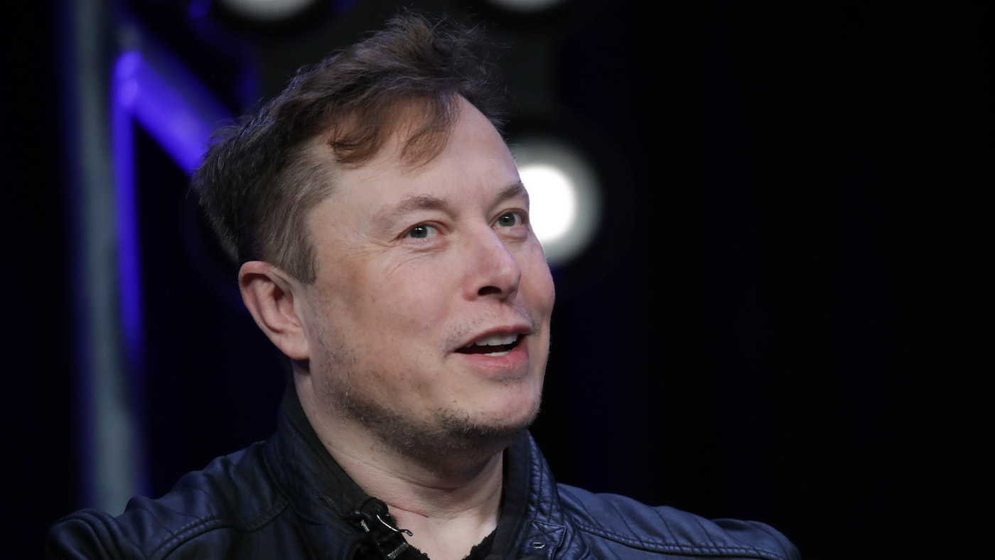 Elon Musk speaks during the Satellite 2020 Conference.