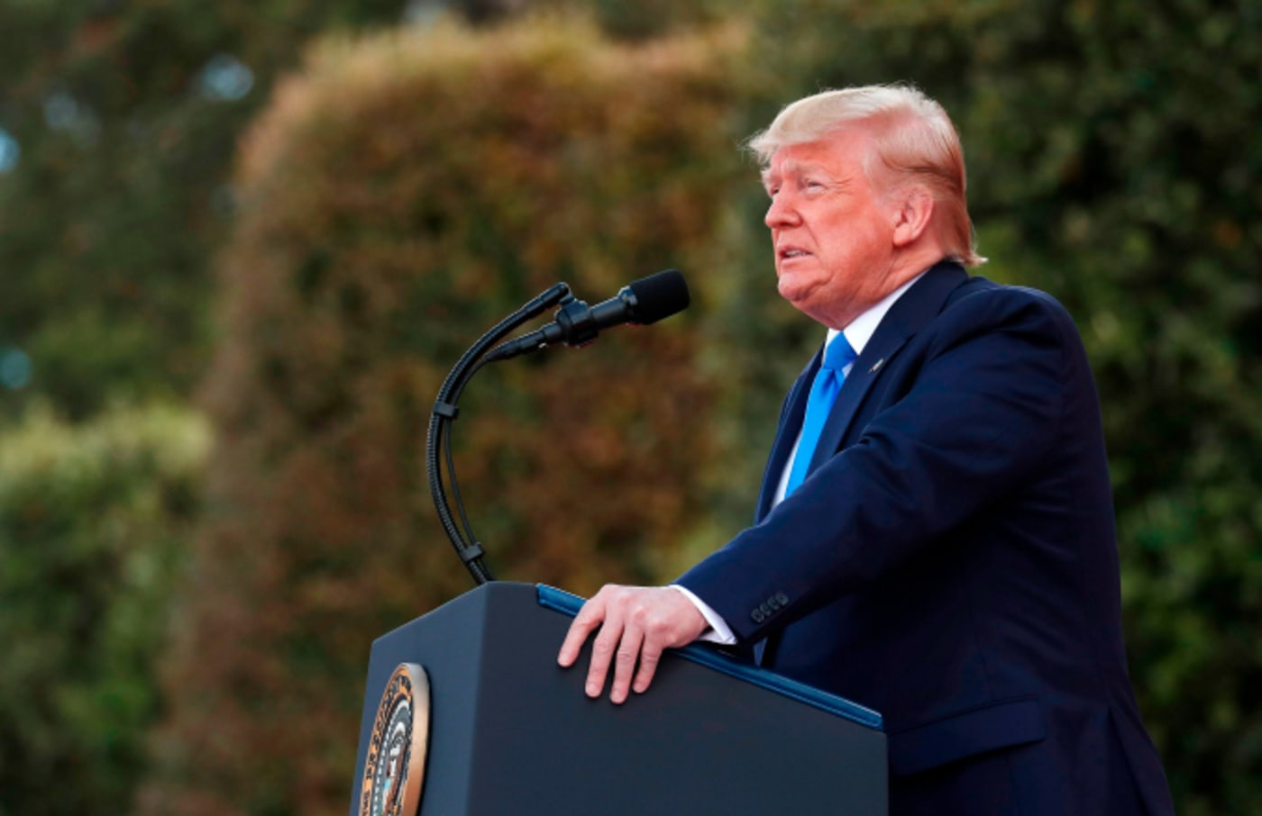 US President Donald Trump delivers a speech during a French US ceremony