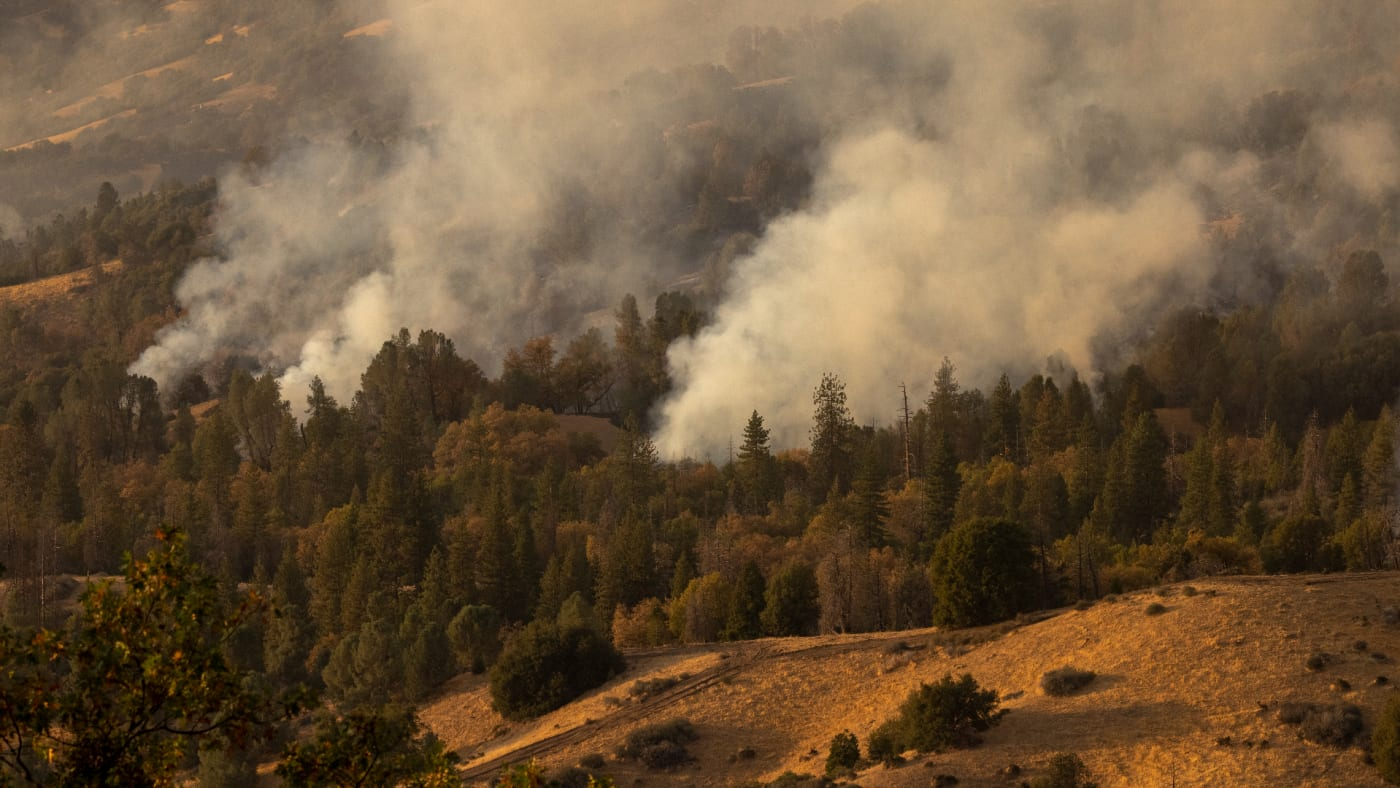 Fire consumes forests in the Pine Flat area as the Windy Fire continues to spread.