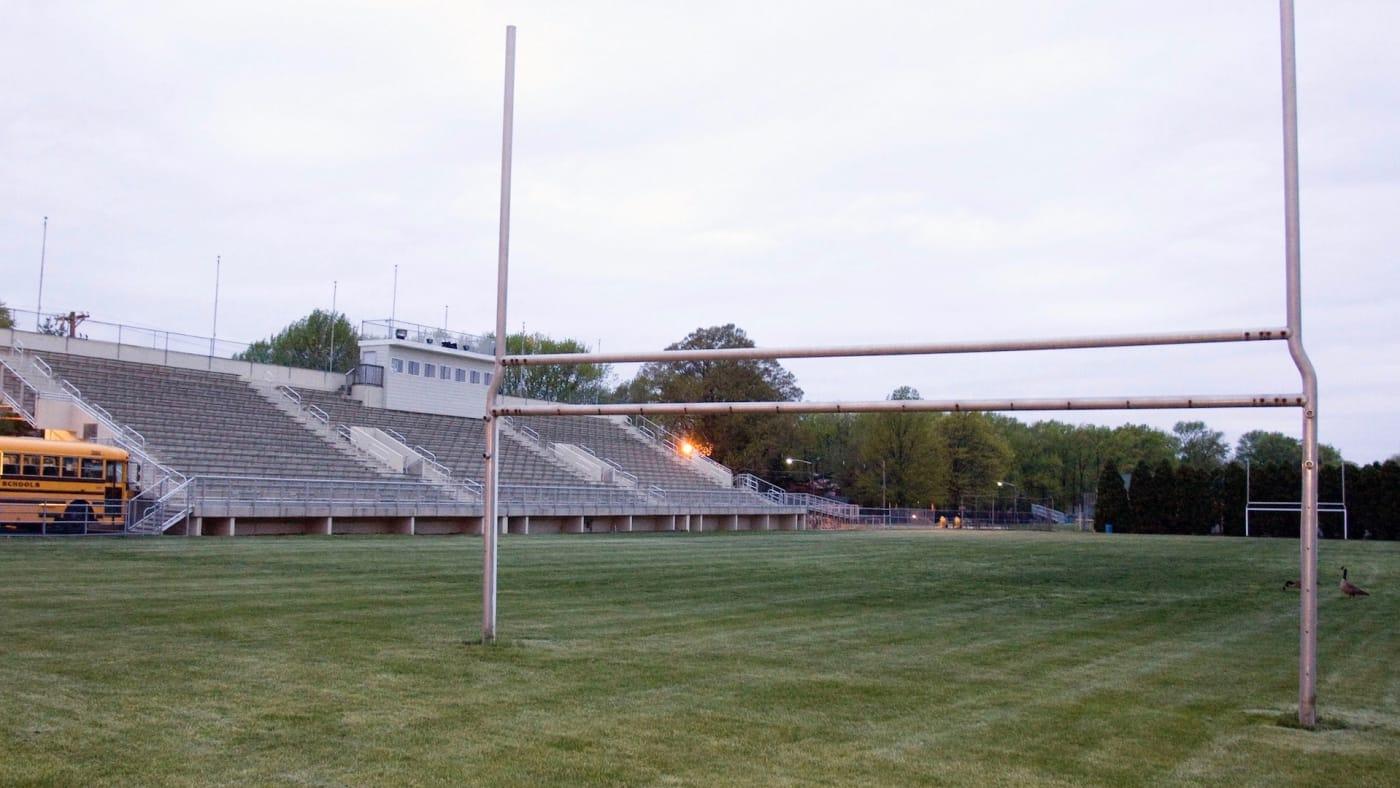 Empty high school football field.
