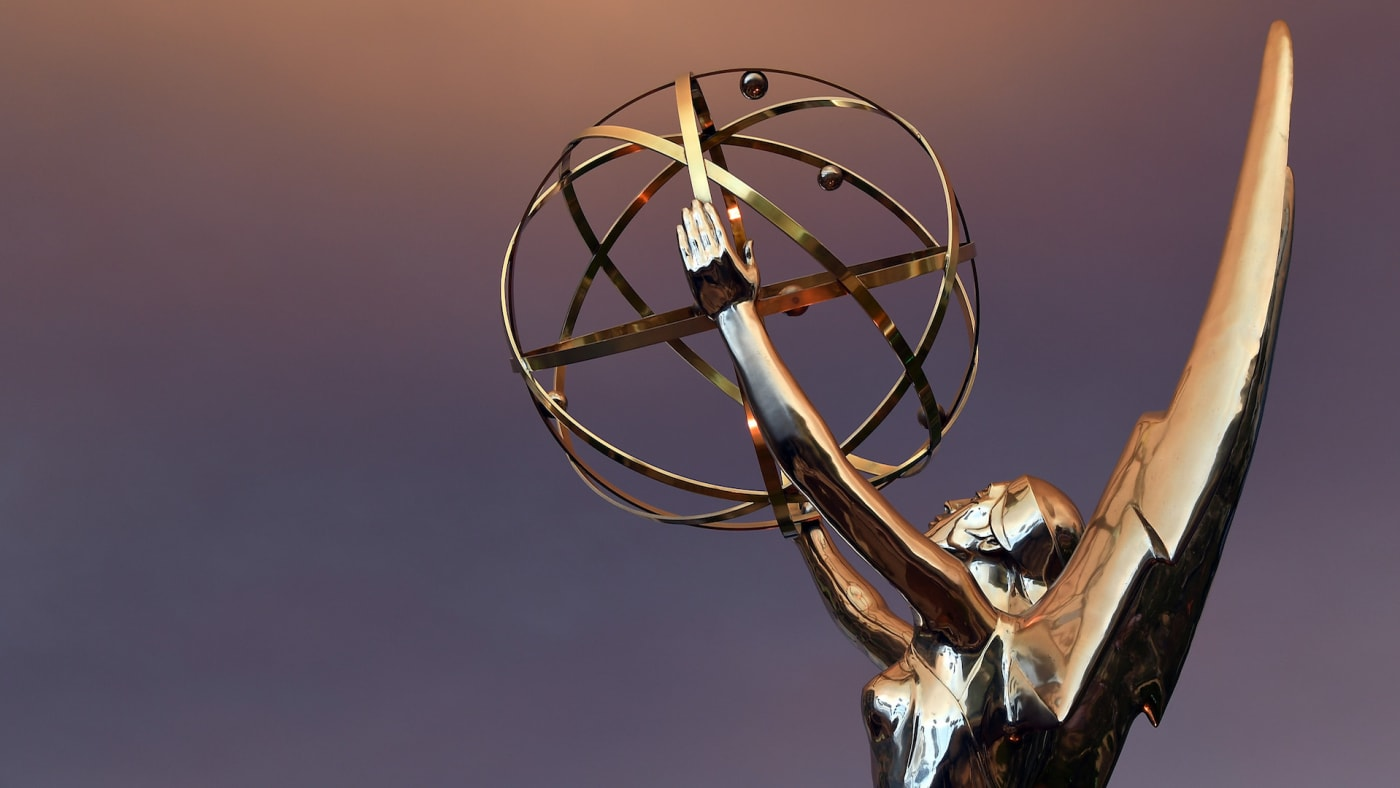 Emmy Statue in front of the Television Academy during the 68th Los Angeles Emmy Awards.