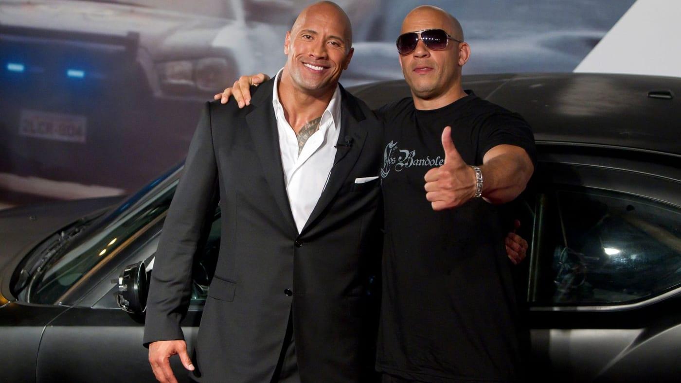 Dwayne Johnson and Vin Diesel Pose at 'Fast 5' Premiere
