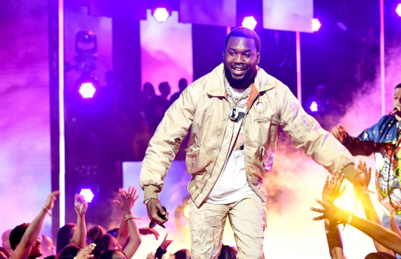 Meek Mill and DJ Khaled perform onstage at the 2019 BET Awards
