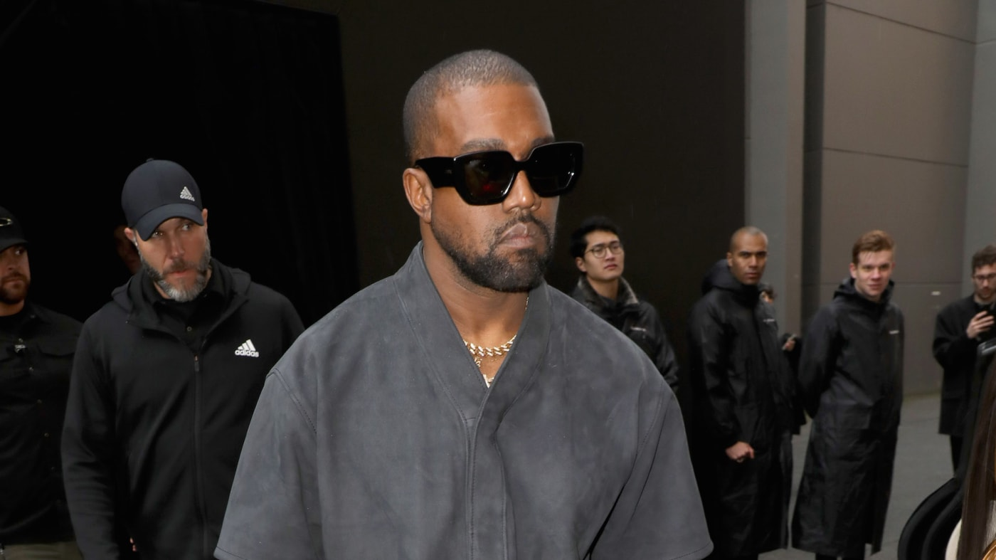 Kanye West attends the Balenciaga show