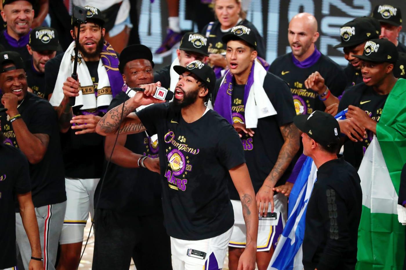 Anthony Davis Lakers Game 6 Ceremony Mic 2020
