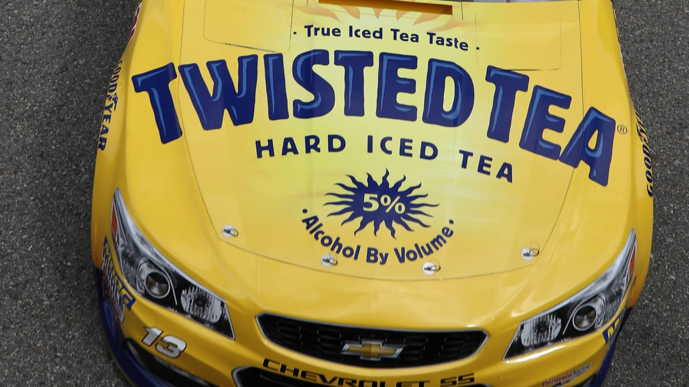Ty Dillon, driver of the #13 Twisted Tea Chevrolet, drives through the garage during practice.
