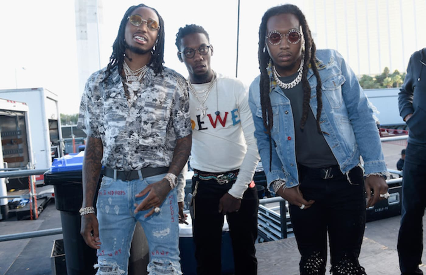 Quavo, Offset and Takeoff of Migos backstage during the Daytime Village.