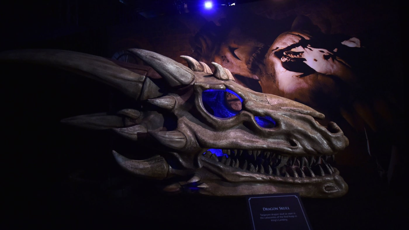 Dragon skulls on display at the Game Of Thrones: The Touring Exhibition.