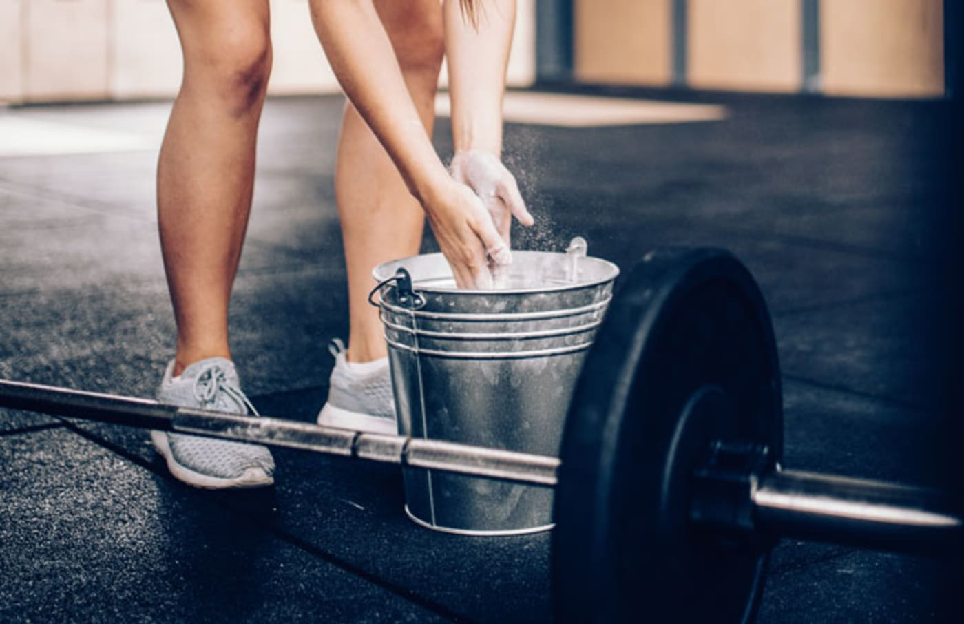Stock image of a weightlifter prepping.