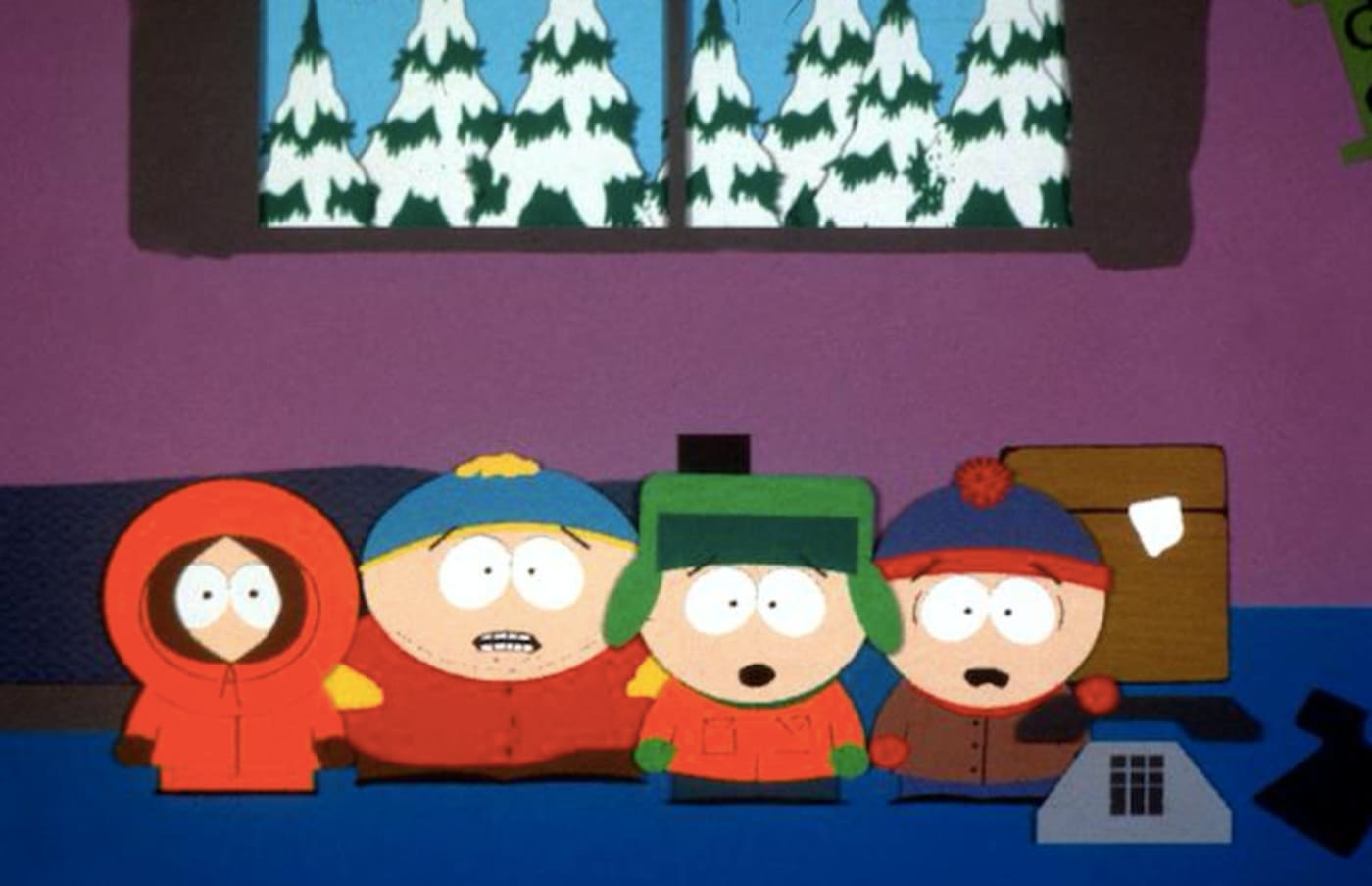 1998 'Kenny', 'Cartman', 'Kyle', and 'Stan' are the characters in the hit series 'South Park.'