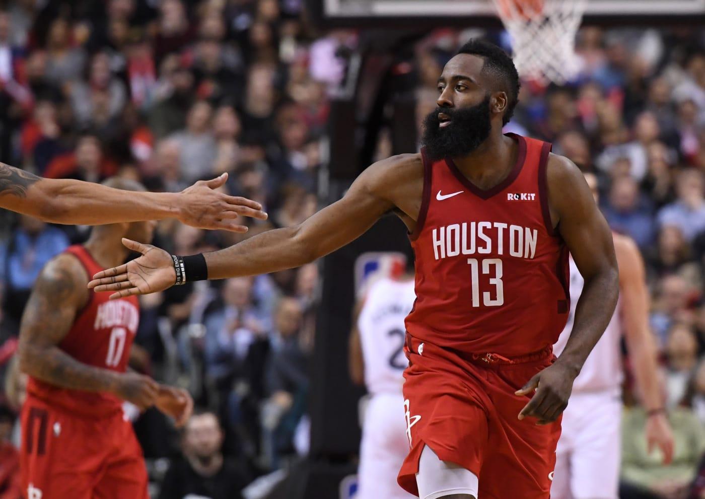 James Harden High Five Rockets Raptors 2019