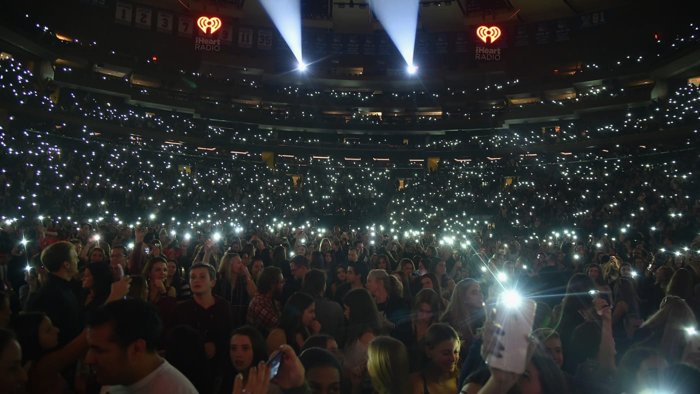 The crowd reacts during Z100's Jingle Ball 2016 at Madison Square Garden