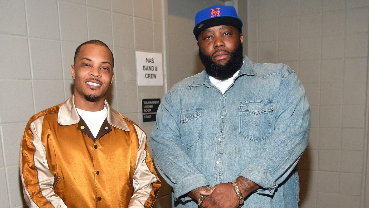 T.I. and Killer Mike pose backstage at Erykah Badu & Nas in Concert.