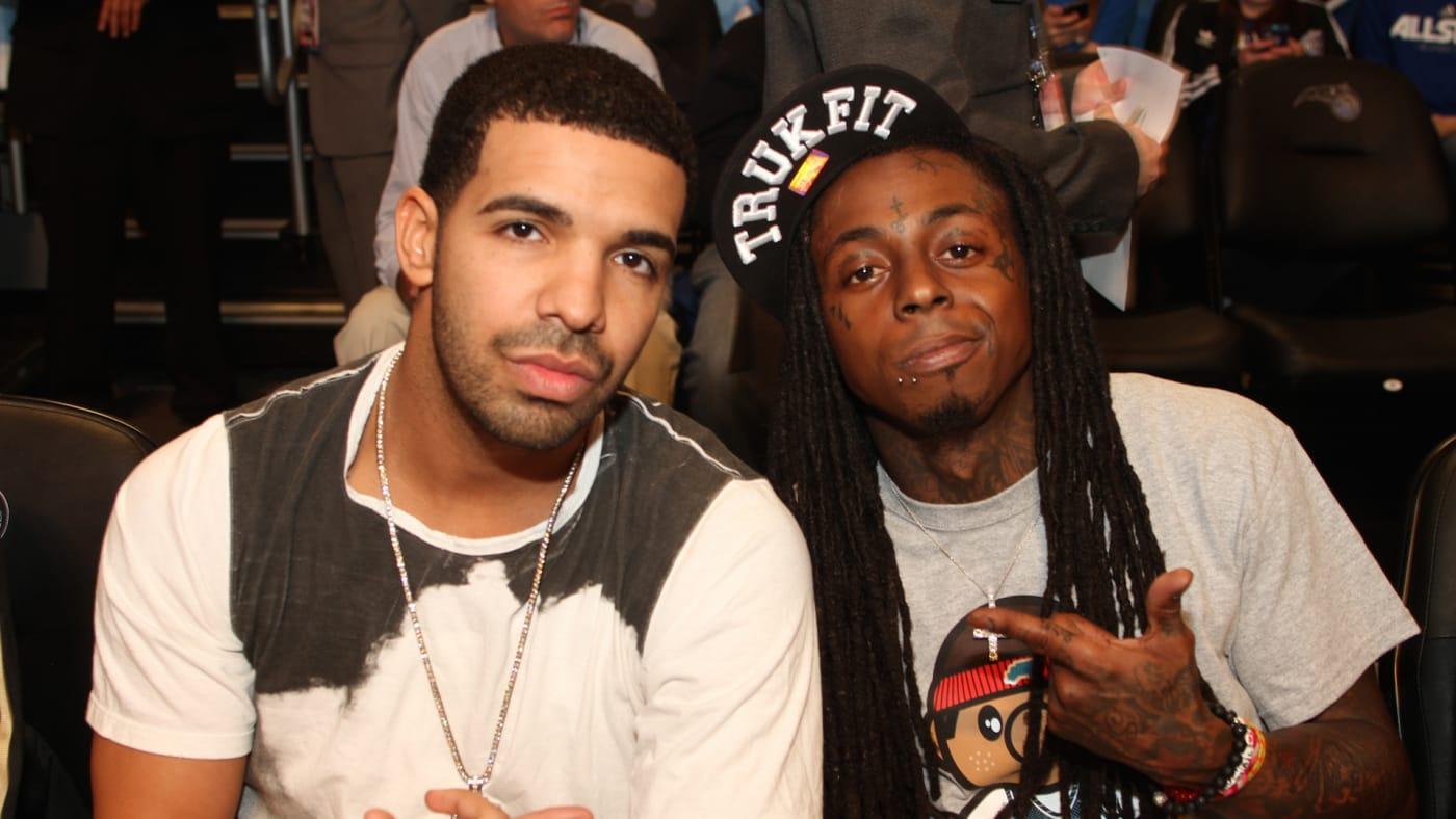 Lil Wayne and Drake pose for a photograph