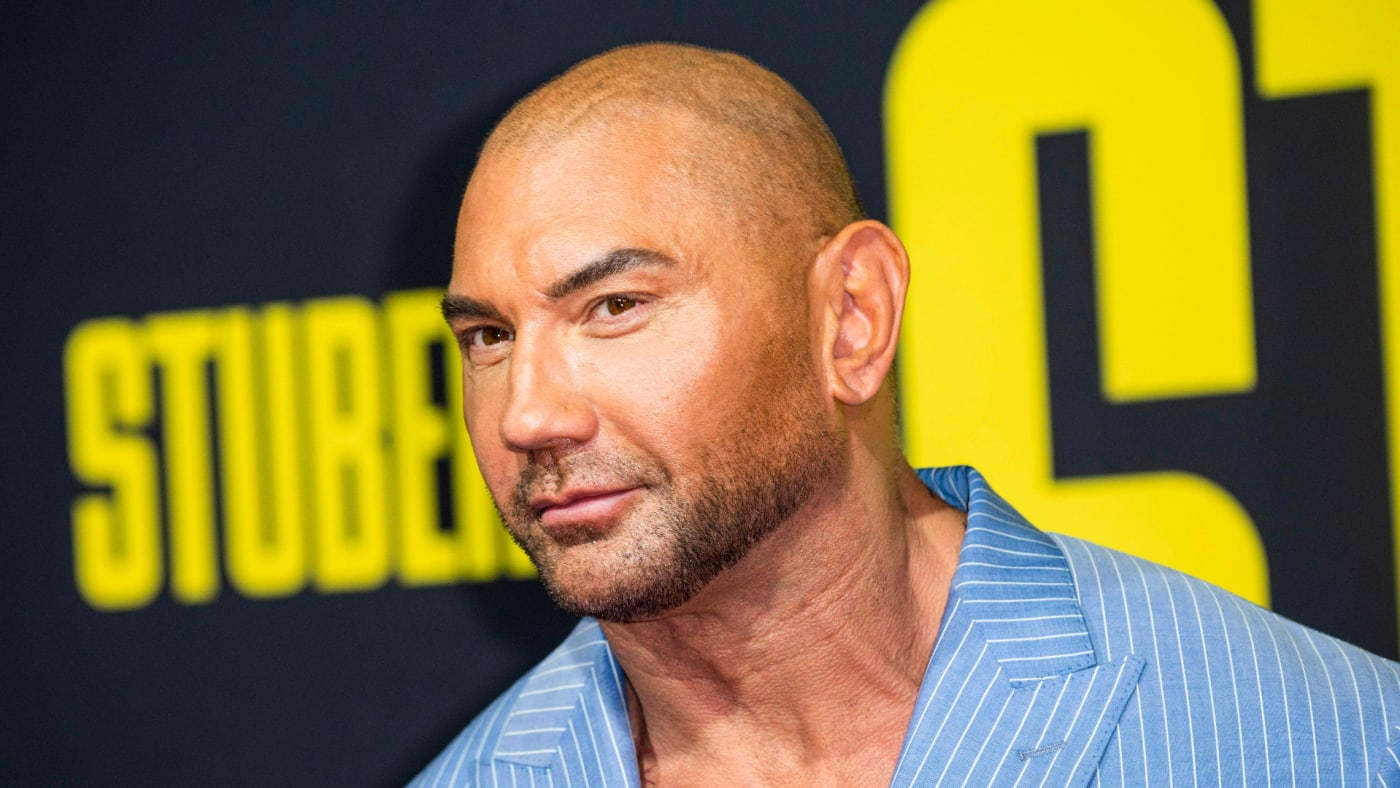 """Dave Bautista arrives for the premiere of """"Stuber."""""""
