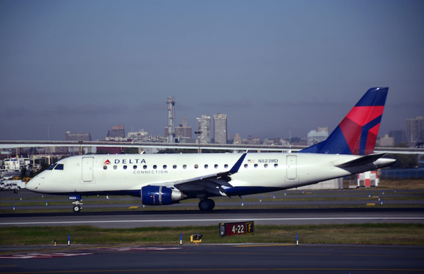 A Delta Connection passenger jet at LaGuardia Airport.