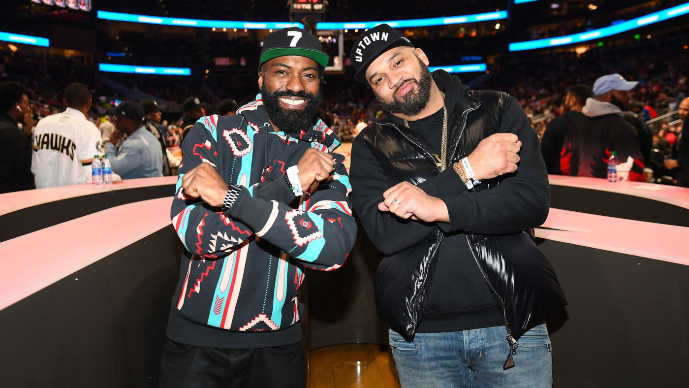 Desus and Mero attend Philadelphia 76ers vs Atlanta Hawks game