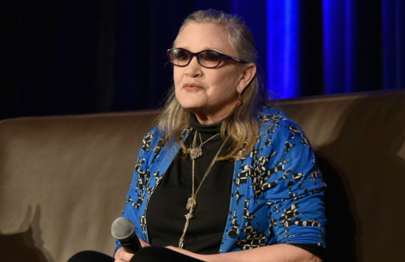 Actress Carrie Fisher speaks onstage during Wizard World Comic Con
