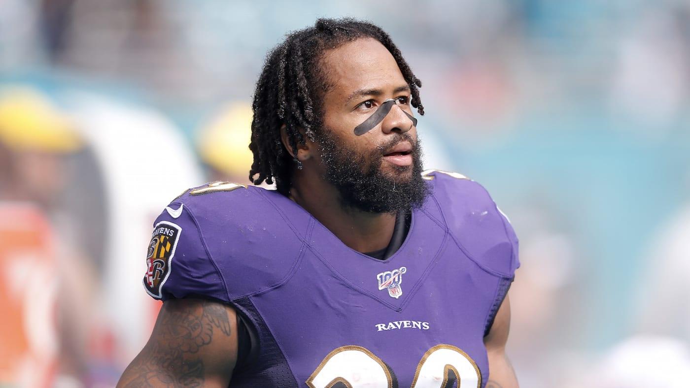 Earl Thomas #29 of the Baltimore Ravens looks on