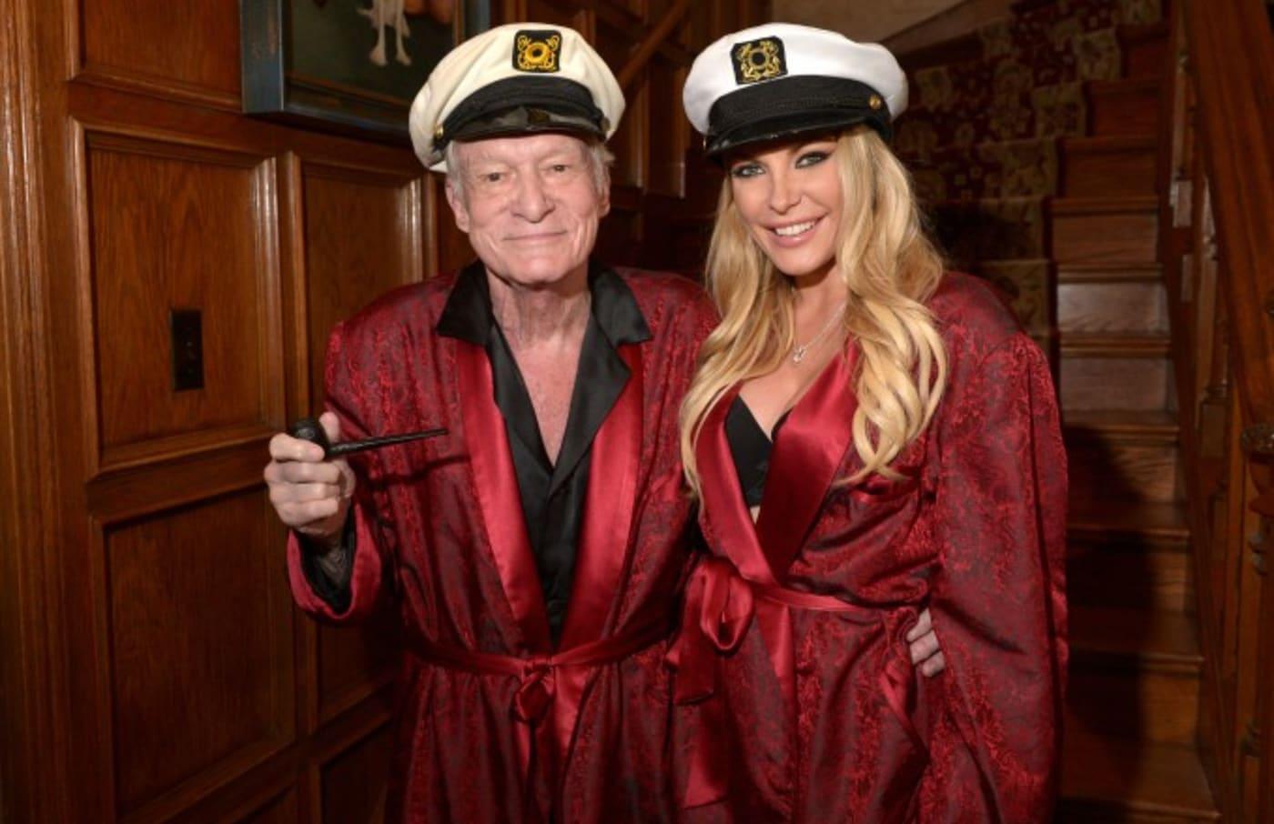 Hugh Hefner with his wife Crystal.