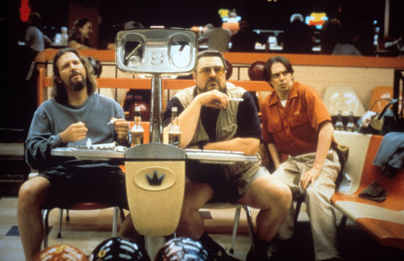 Jeff Bridges, John Goodman and Steve Buscemi as the bowling teammates Dude, Walter and Donny.