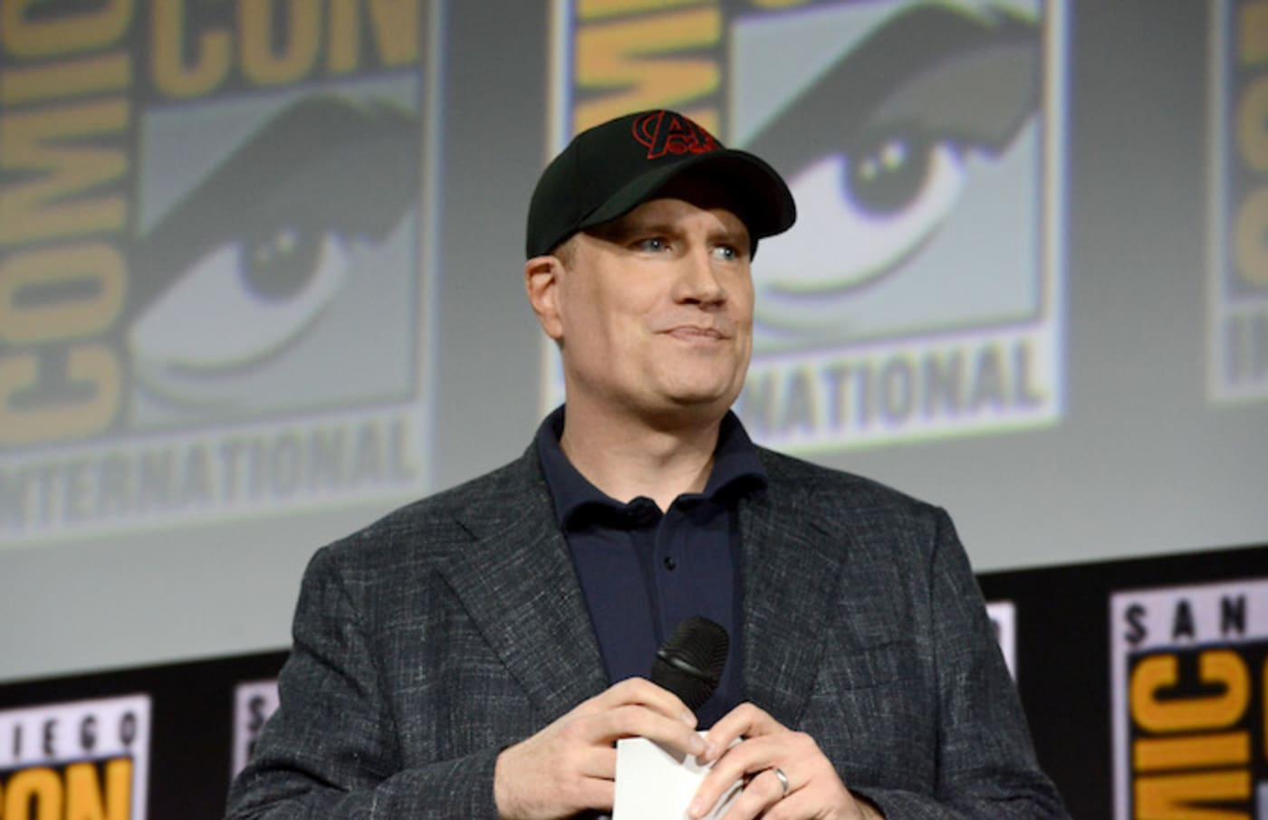 Kevin Feige speaks at the Marvel Studios Panel during 2019 Comic Con International.