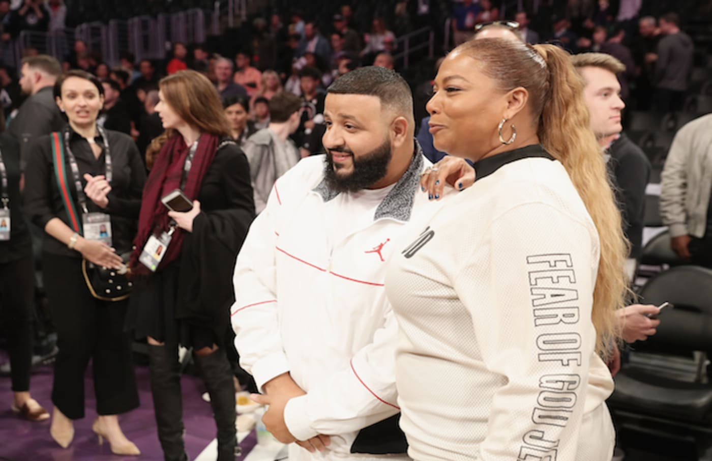 This is a photo of Queen Latifah and DJ Khaled
