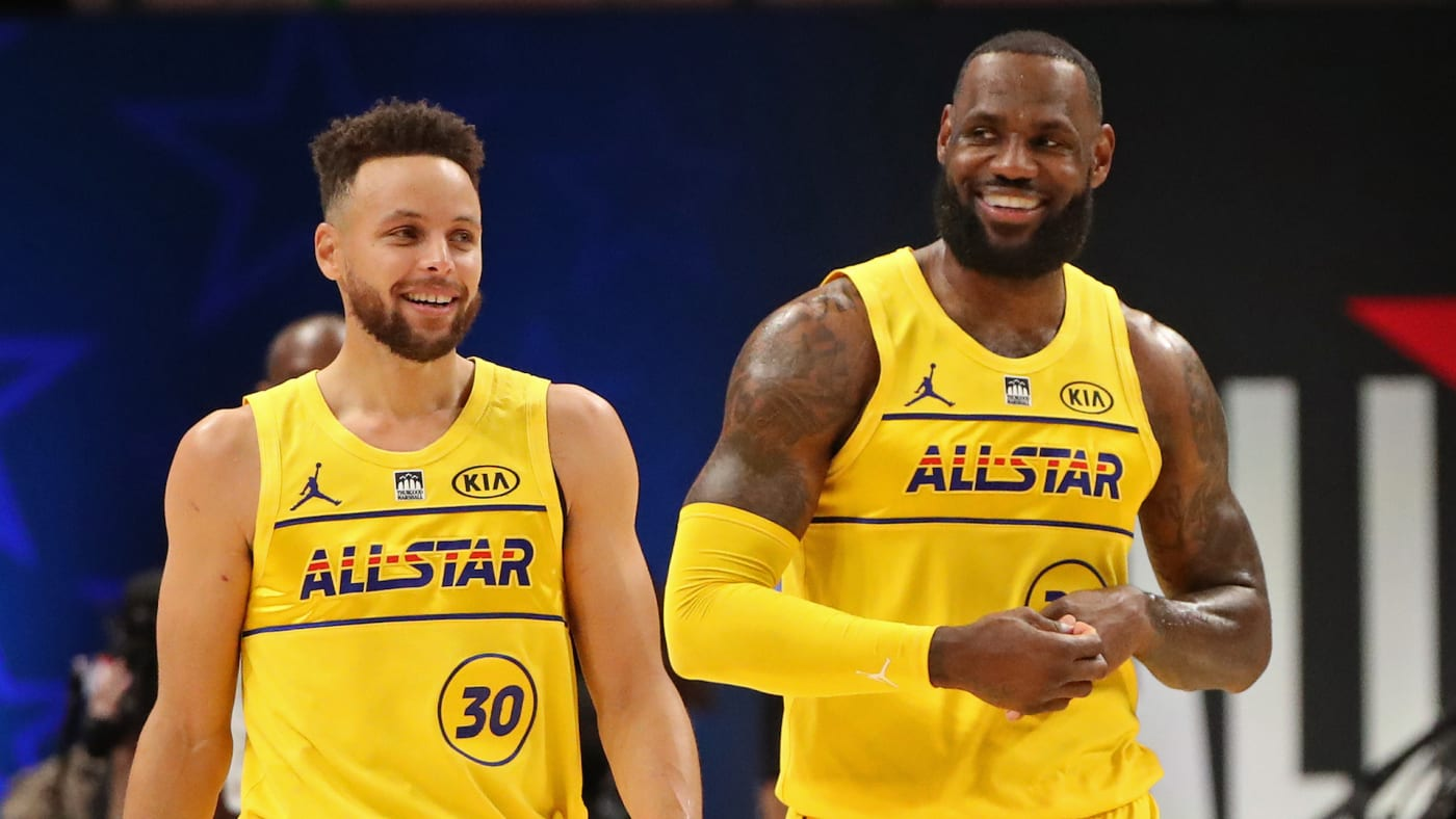 Stephen Curry #30 and LeBron James #23 of Team LeBron
