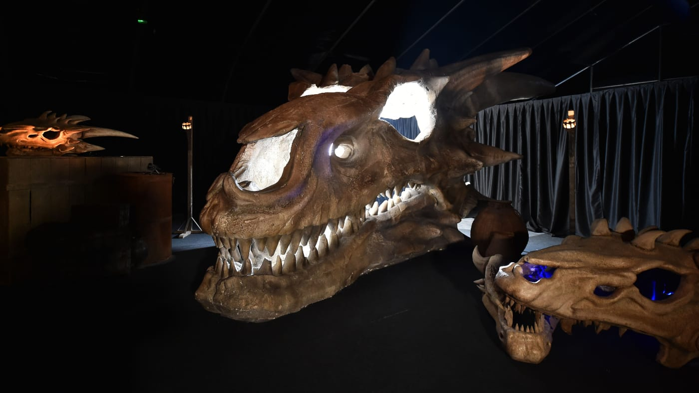 Dragon skulls can be seen on display at the Game Of Thrones: The Touring Exhibition.
