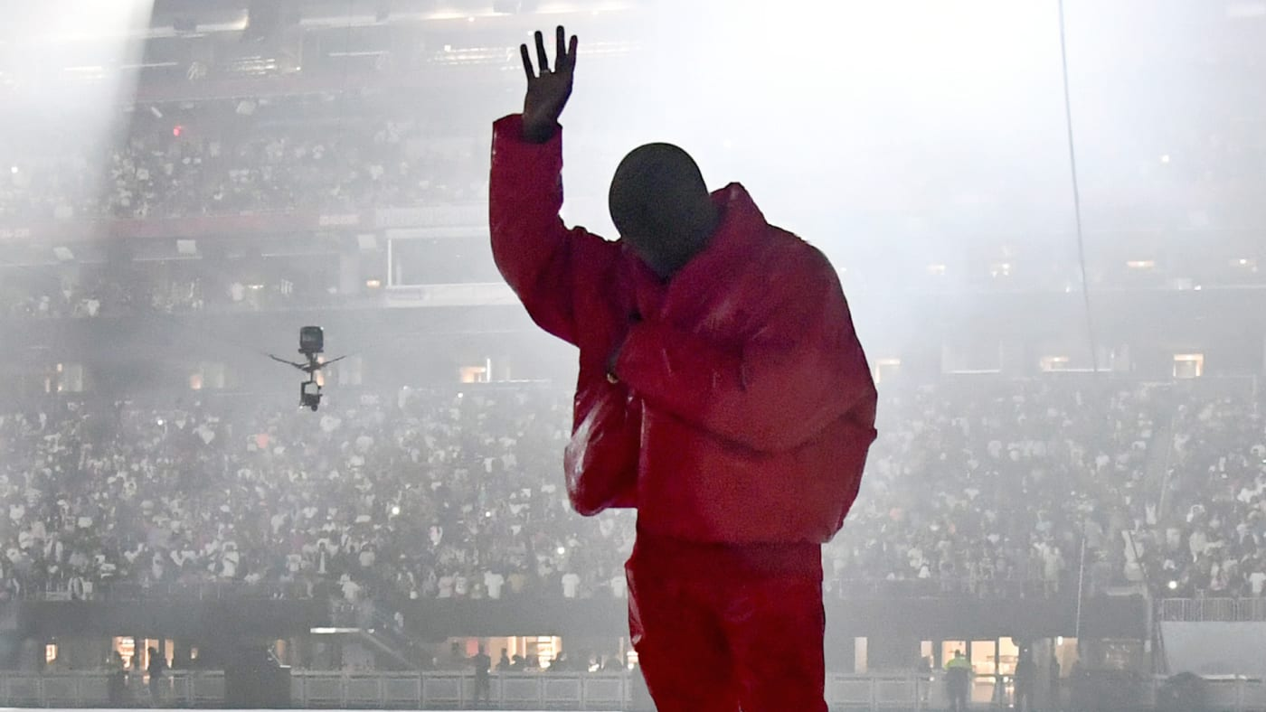 Kanye West is seen at 'DONDA by Kanye West' listening event at Mercedes-Benz Stadium