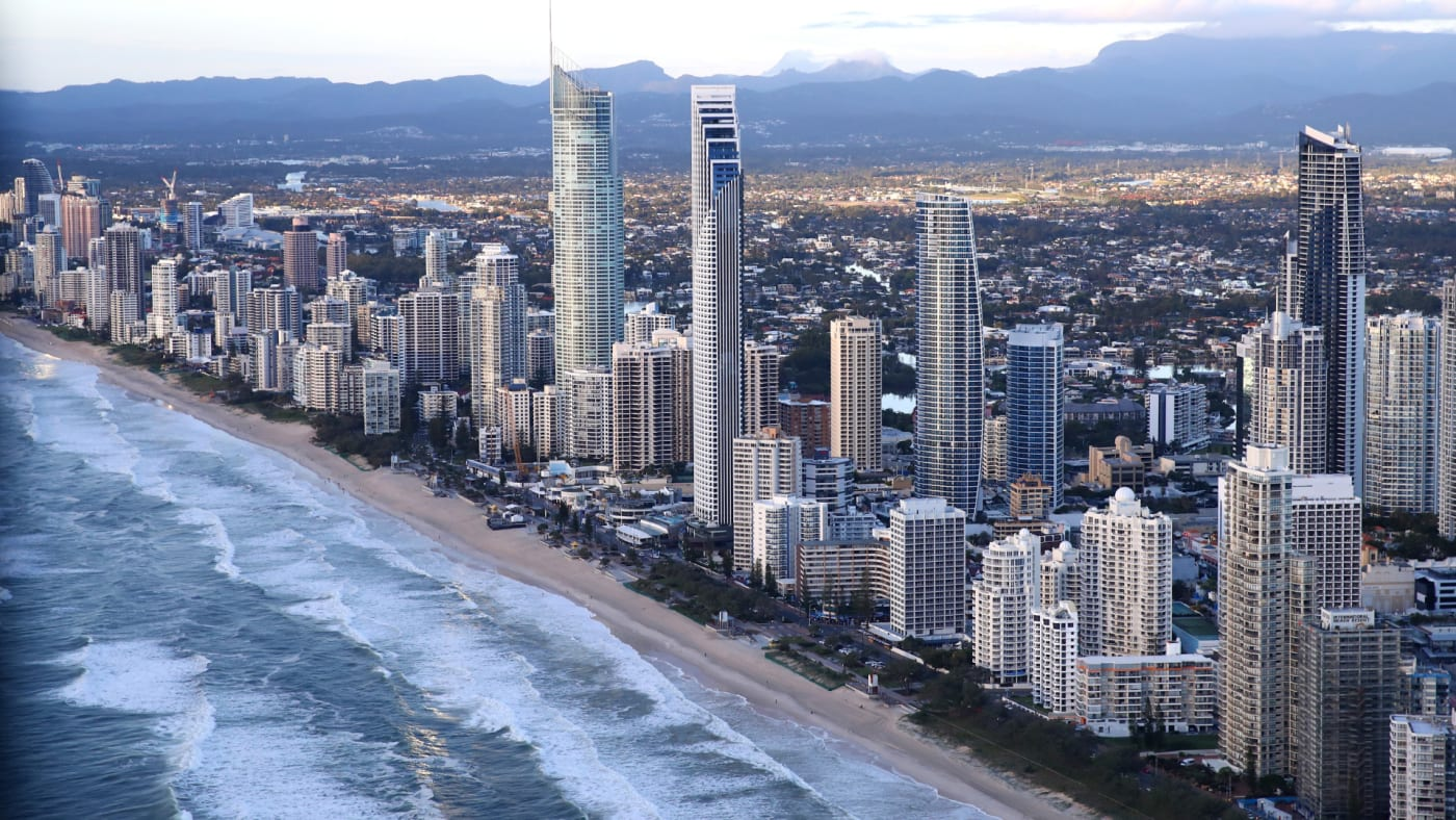 Beachfront hotels at Surfers Paradise on the Gold Coast.