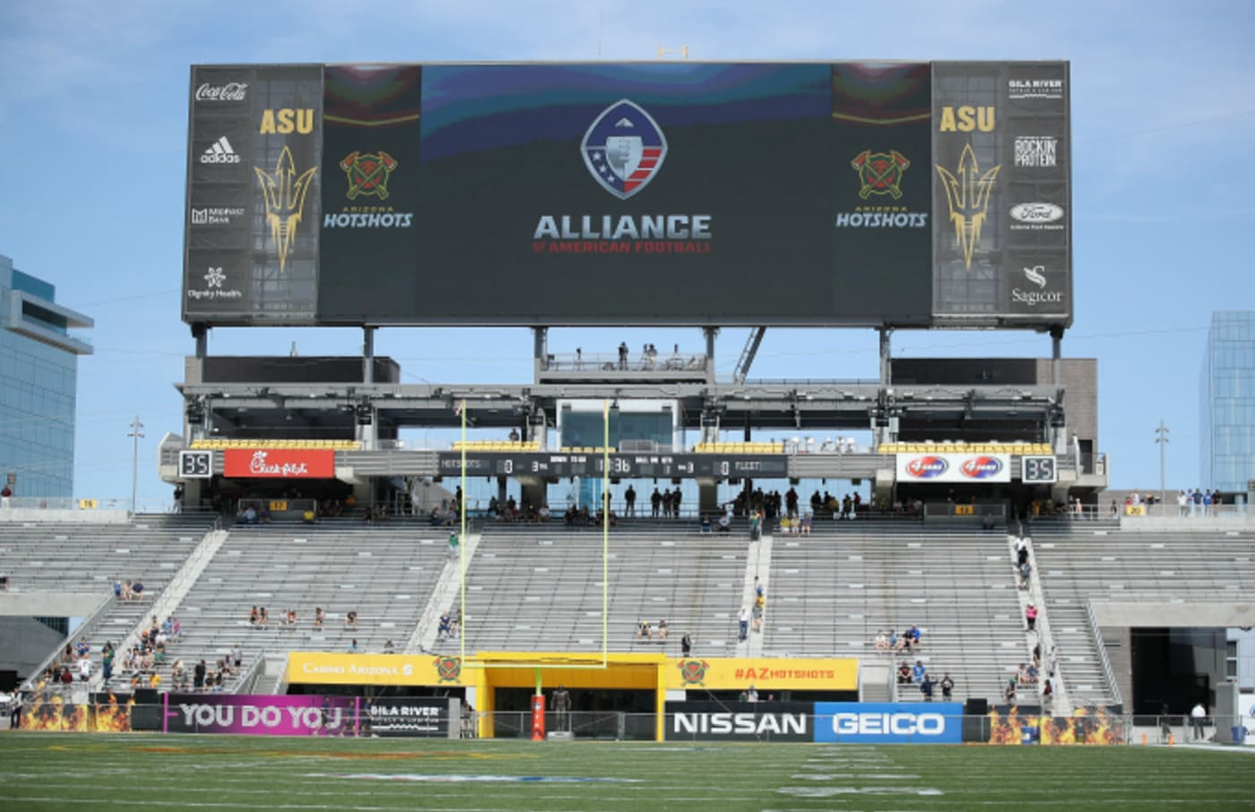 General view of the north scoreboard before the AAF game