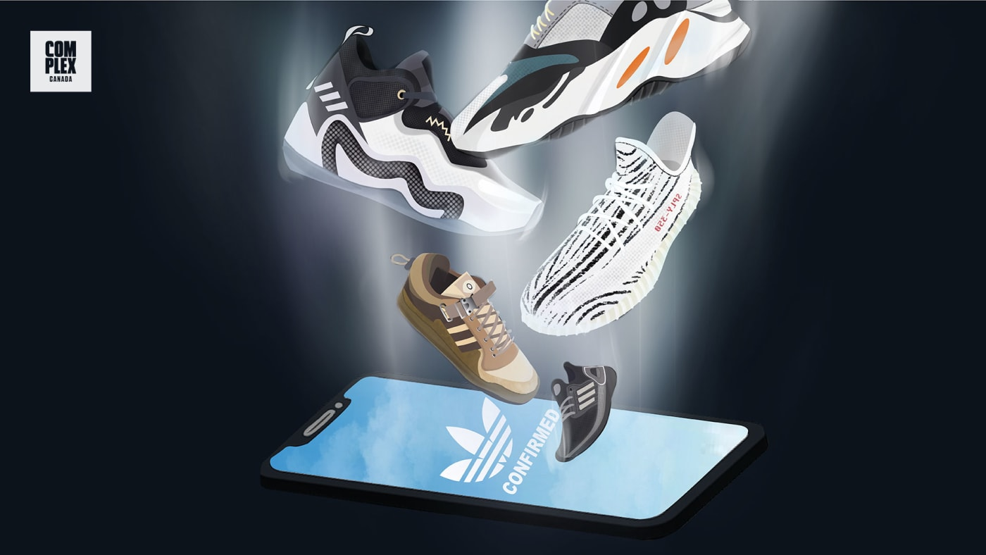 adidas Confirmed app illustration with various Yeezy sneakers
