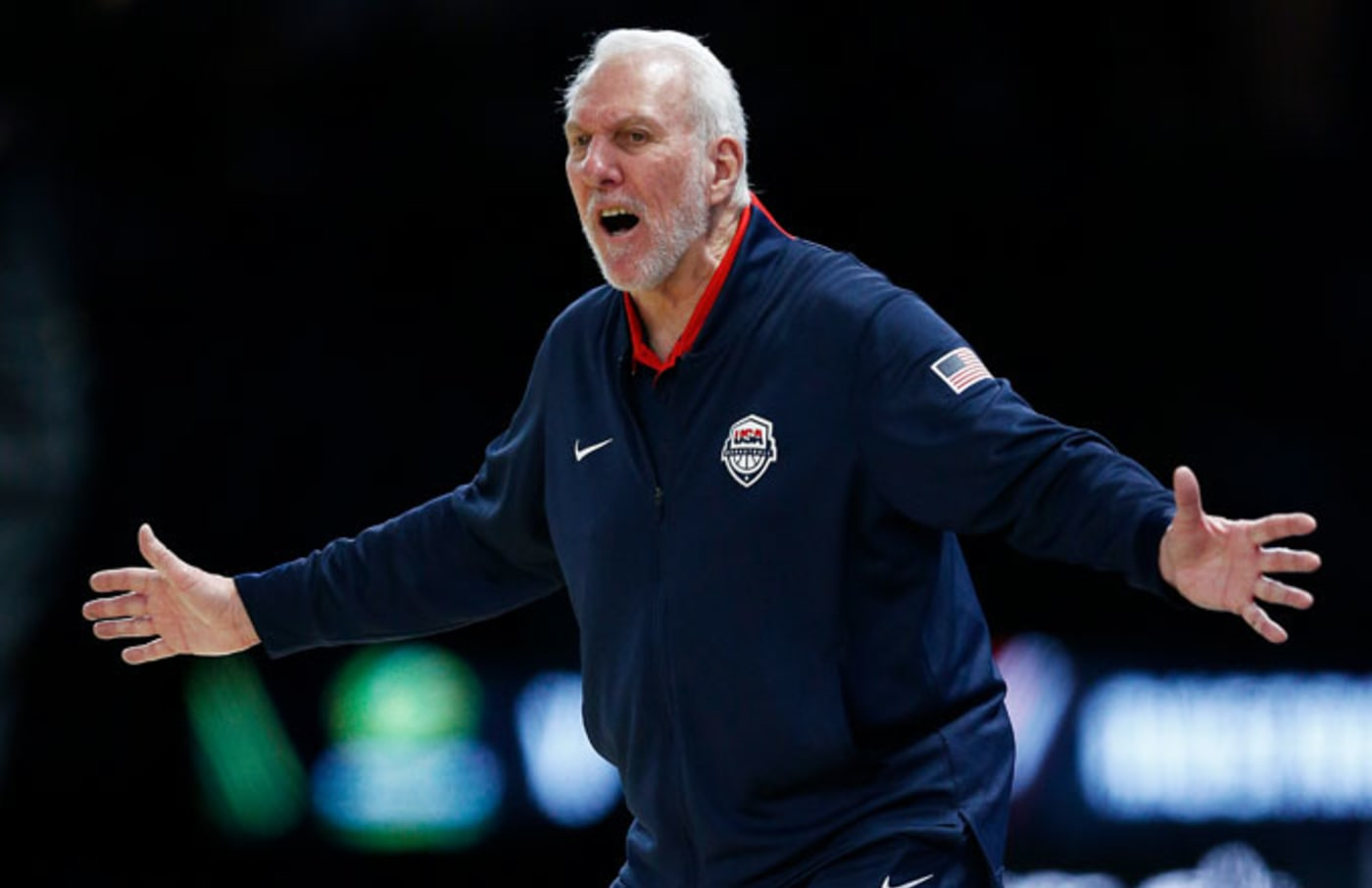 Gregg Popovich reacts during Team USA's 98 94 loss to Australia.
