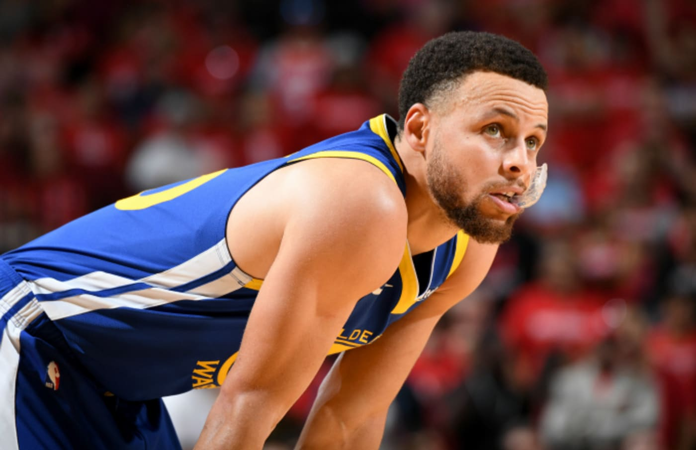 Stephen Curry #30 of the Golden State Warriors looks on against the Houston Rockets