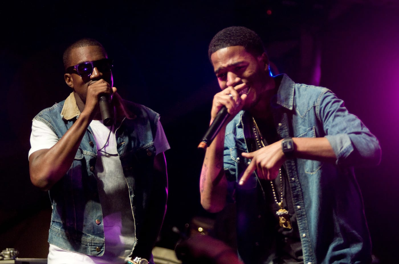 Kanye West and Kid Cudi perform on stage